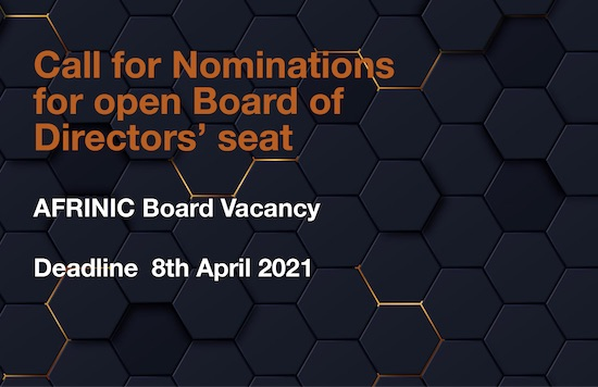 Call for Nominations - AFRINIC Board of Directors Seat
